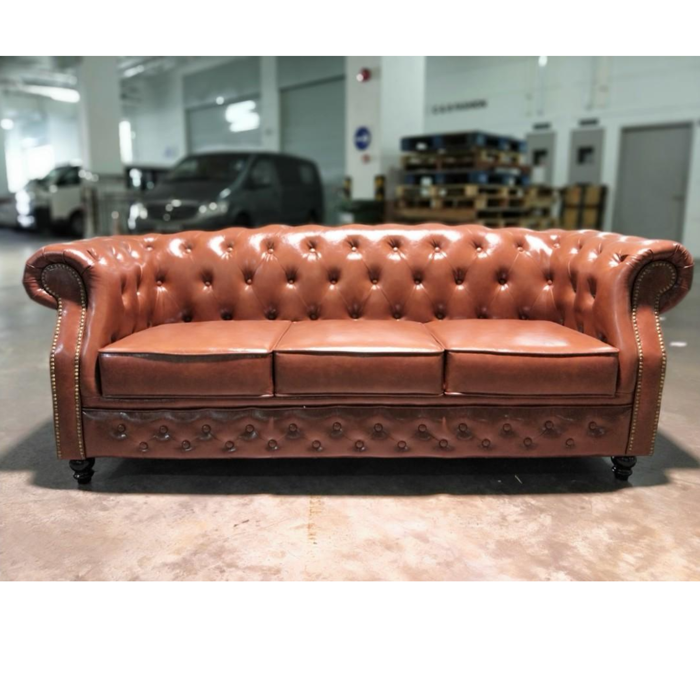 BOTTEVA Chesterfield 3 Seater Sofa in GLOSS BROWN PU