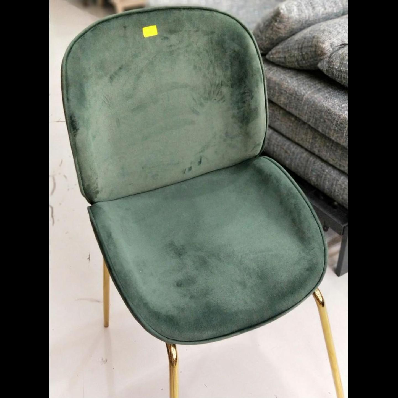 VOLKZ Chair in VELVET GREEN with GOLD LEGS