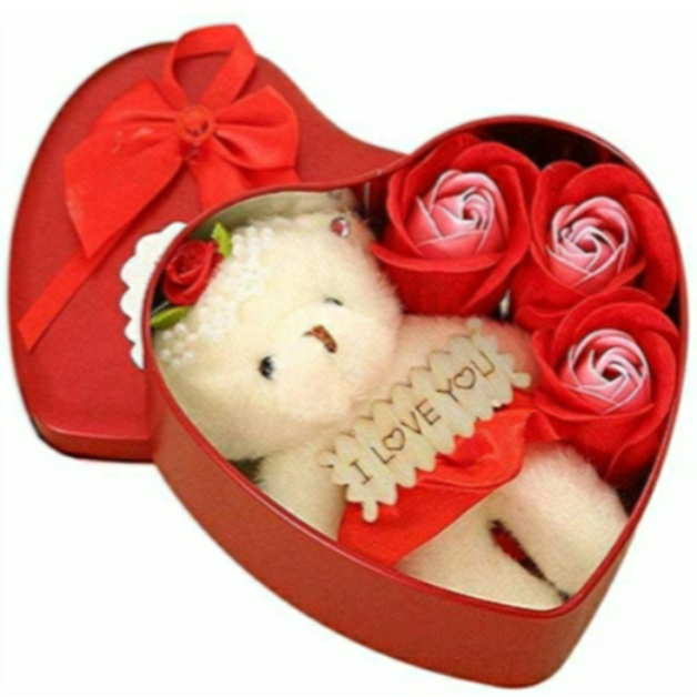 Rbotronics Best Love Gift for Girls Heart Shape and Red Rose Soap Flower Petals with Box & Soft Teddy Bear
