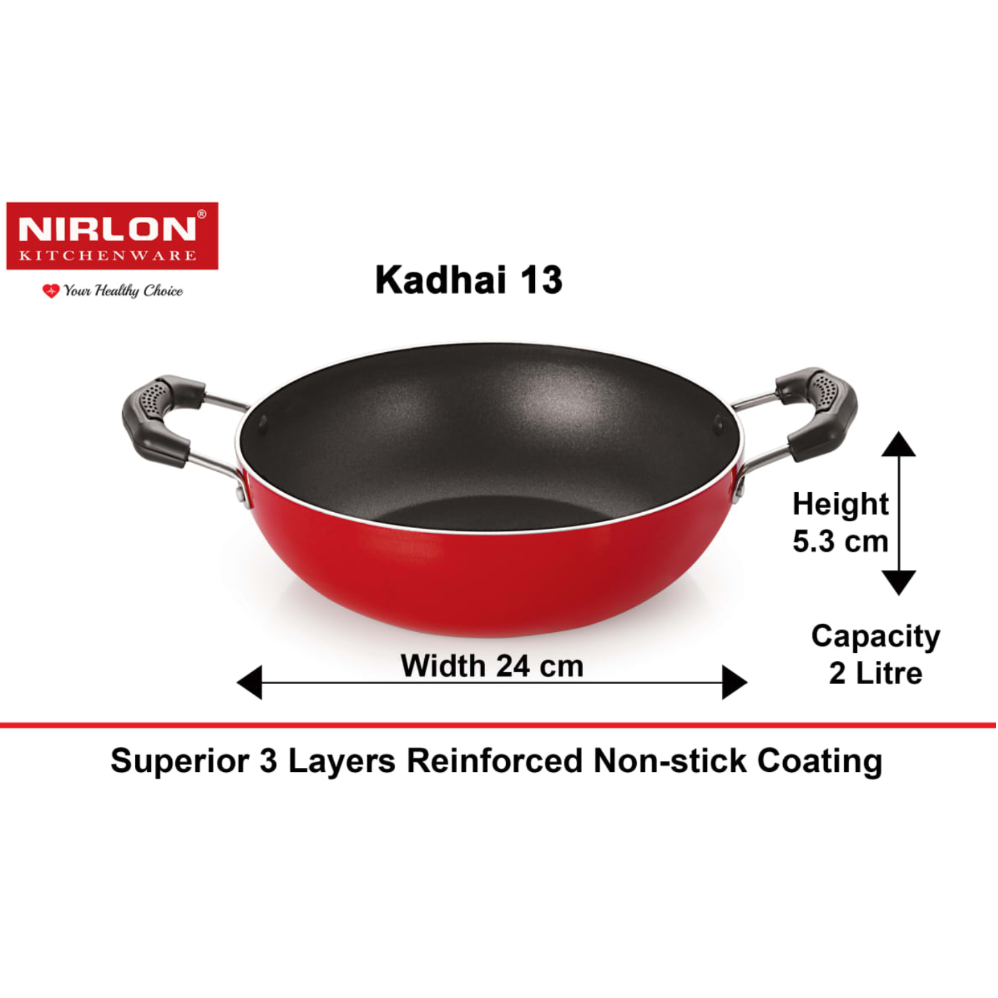 Nirlon Classic Range Kadhai 240mm, Product Weight ~507gm, Package Weight ~750gm, Non-Induction, Color- Red/Black, with Bakelite Handle (2.6mm_KD13)