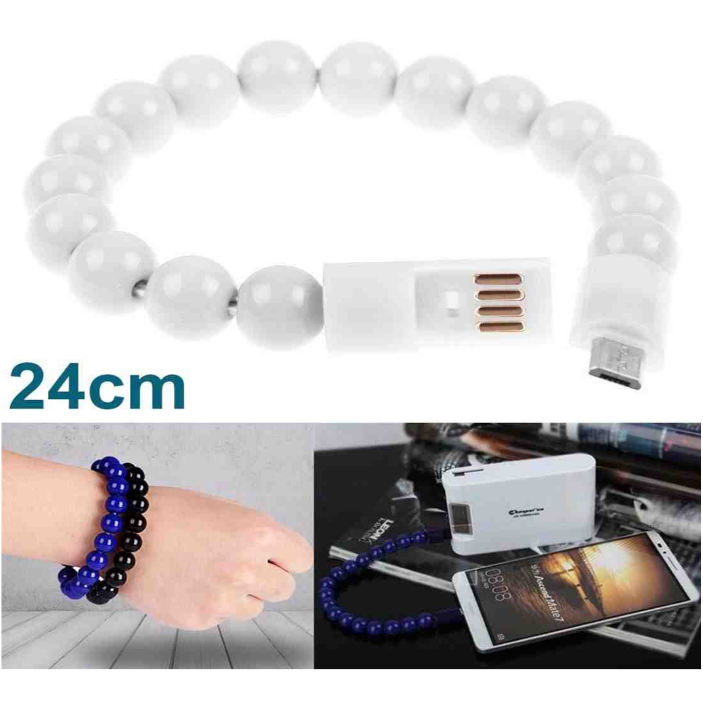 Fashion Bracelet Micro USB Cable for Android Phones Fast Charging and Data Sync