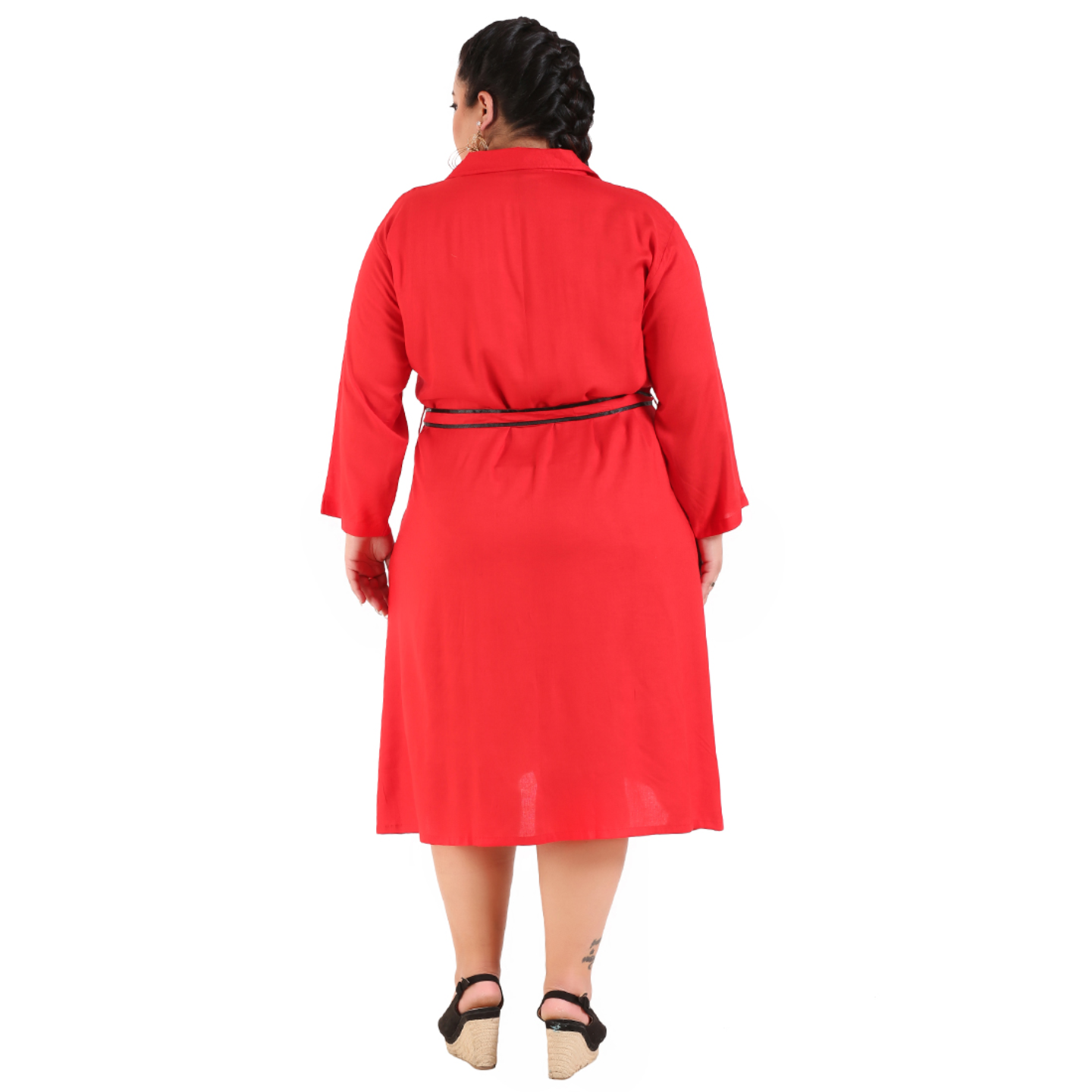 Red Colour Shirt Style Dress with Belt
