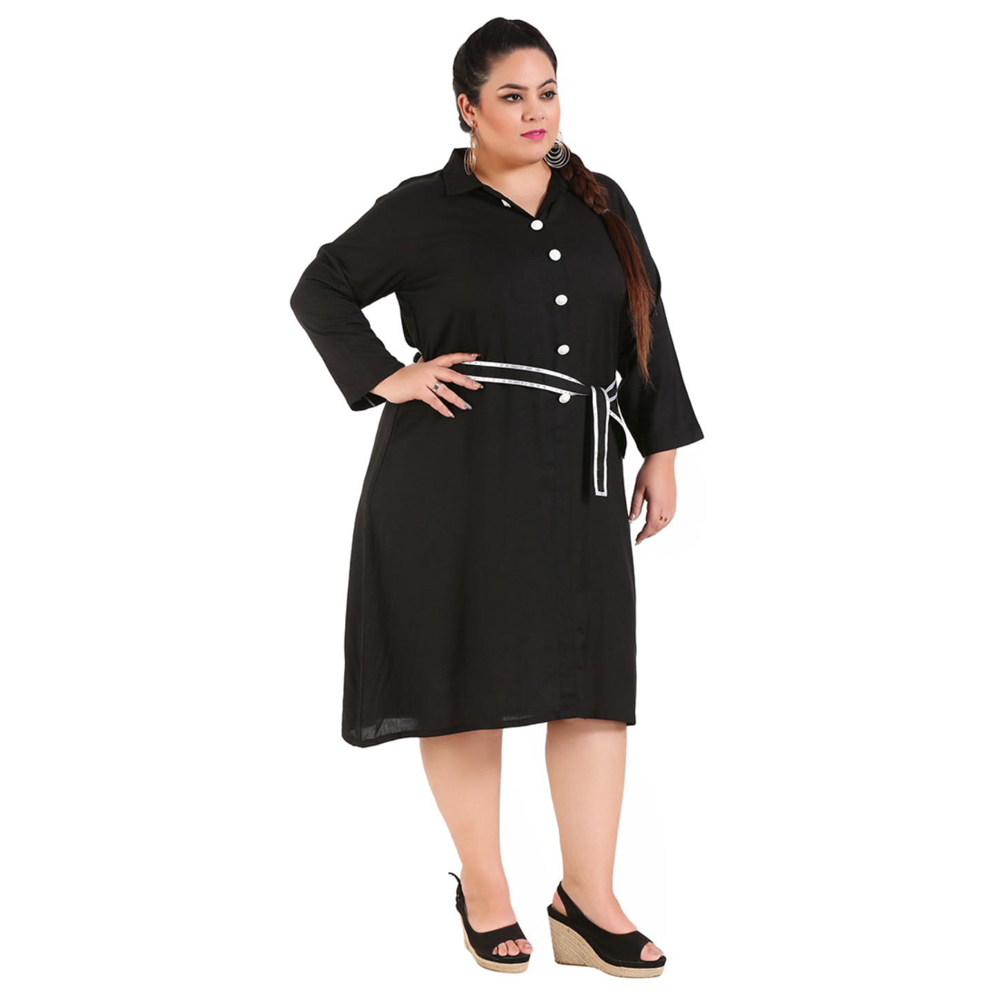 Black Colour Shirt Style Dress with Belt