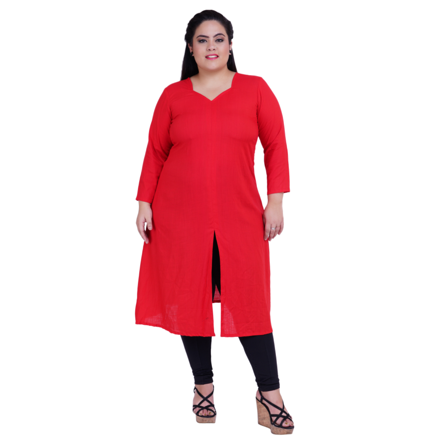 Red Colour Front Slit Rayon Kurti