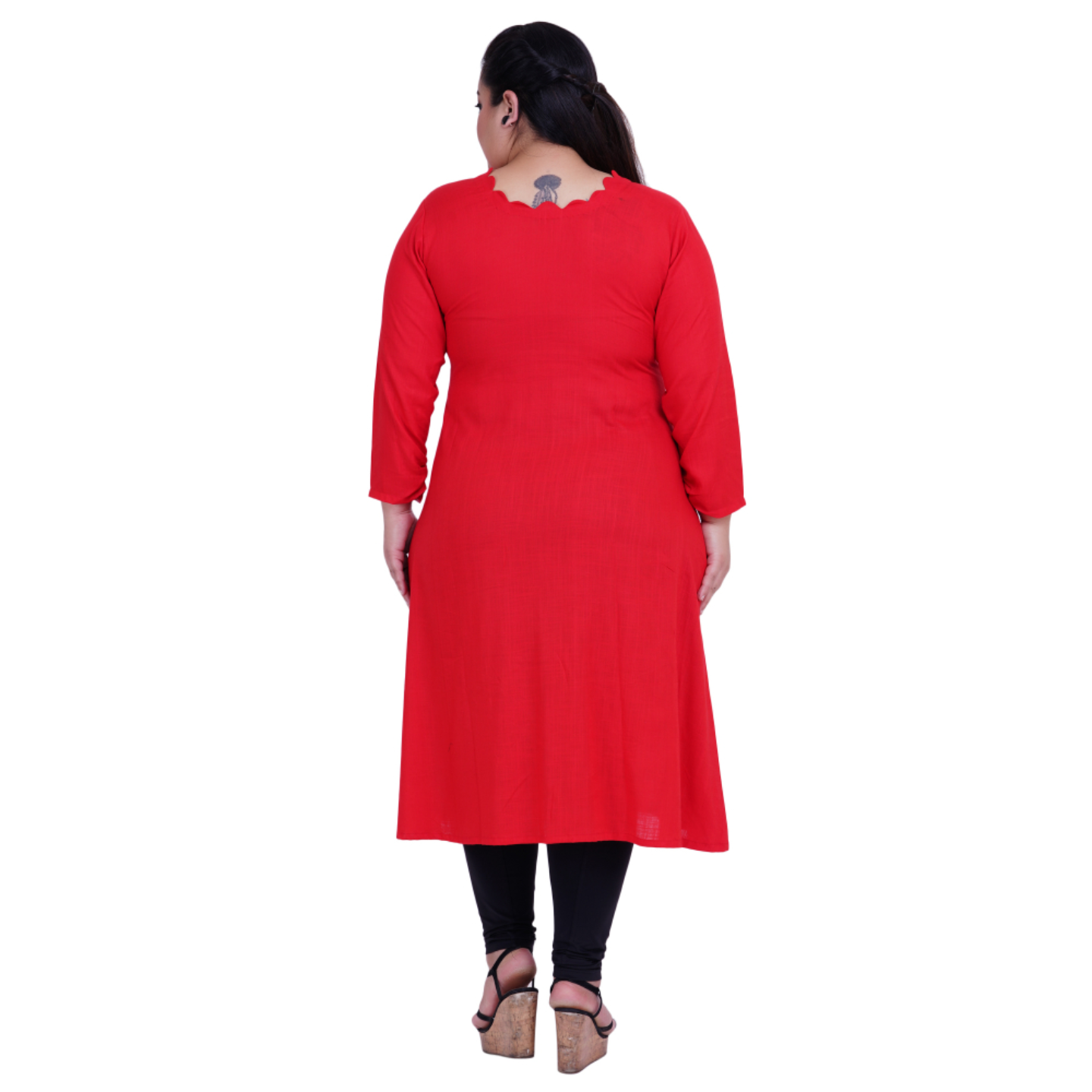 Red Colour Straight Rayon Kurti