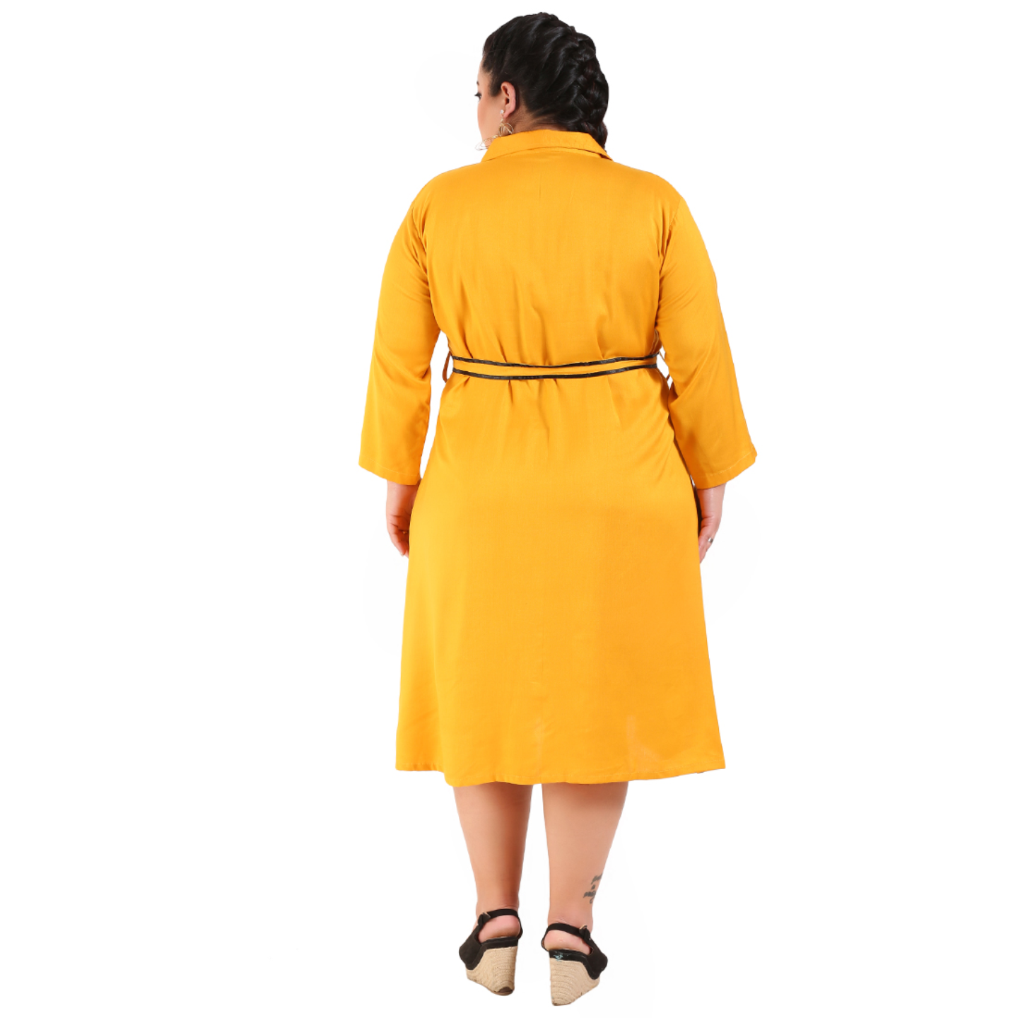 Yellow Colour Shirt Style Dress with Belt
