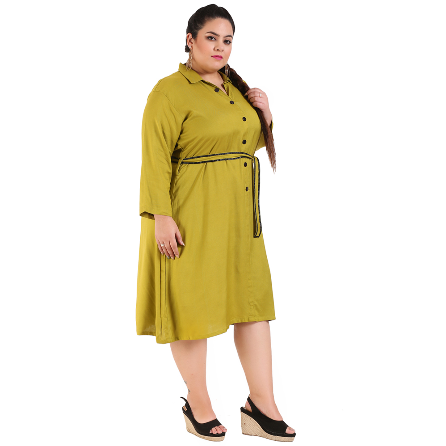 Green Colour Shirt Style Dress with Belt