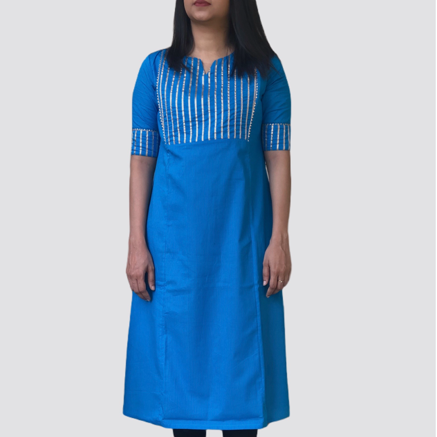 MCK Design Blue Regular Fit Half Sleeve Kurtha