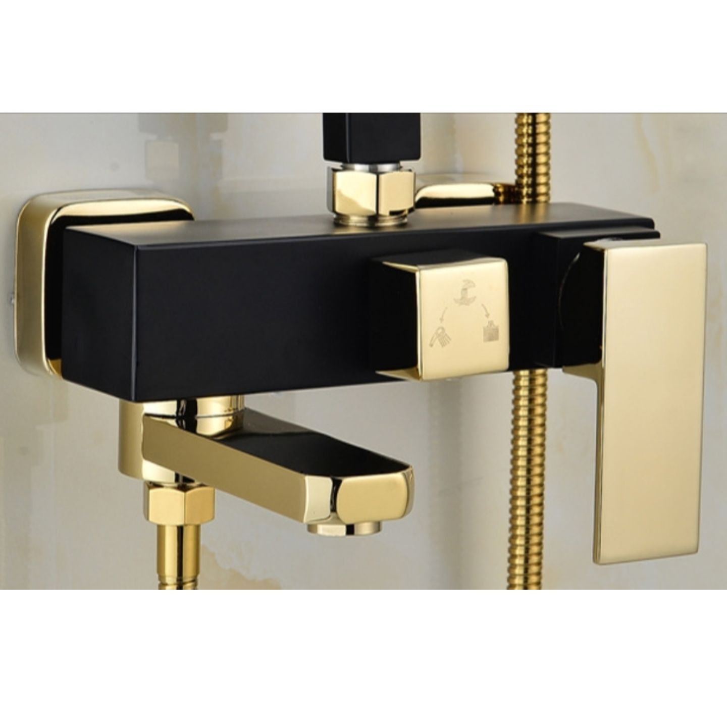 European Square Rainshower Set Black,Gold & White