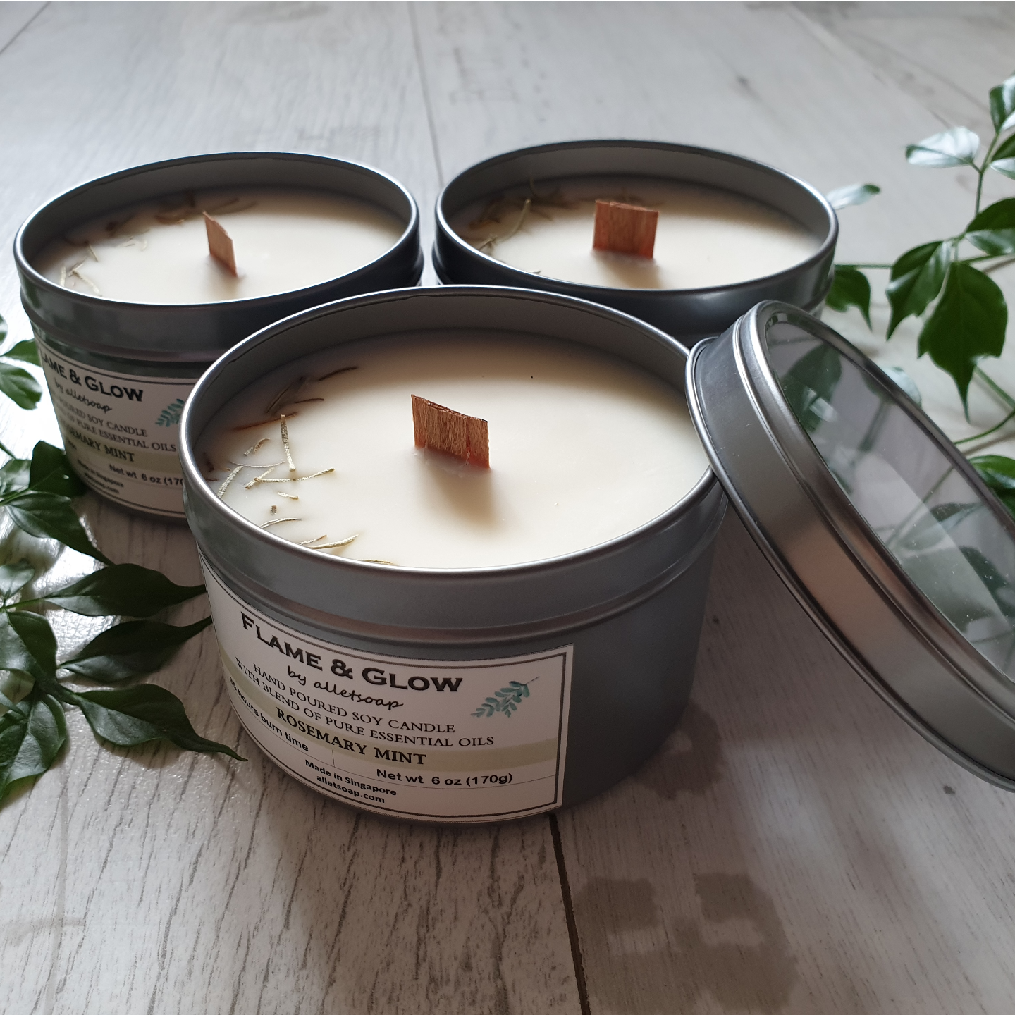 Soy Candle - Rosemary Mint 6 oz