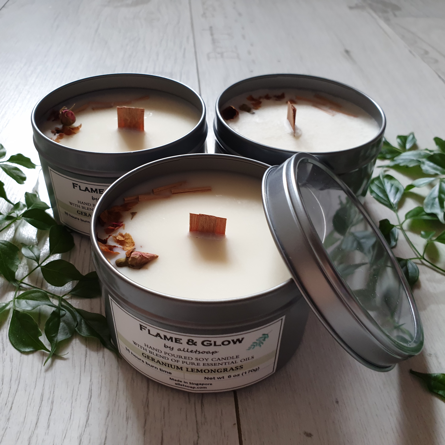 Soy Candle - Geranium Lemongrass 6 oz