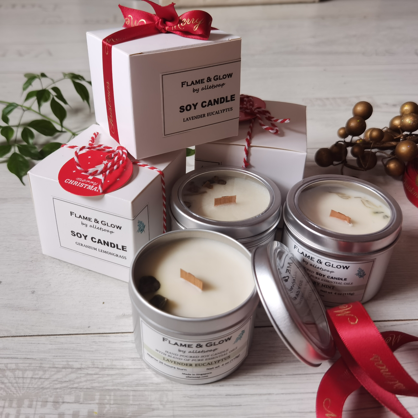 Bundle of 3 Soywax Candles 4oz - Flame & Glow