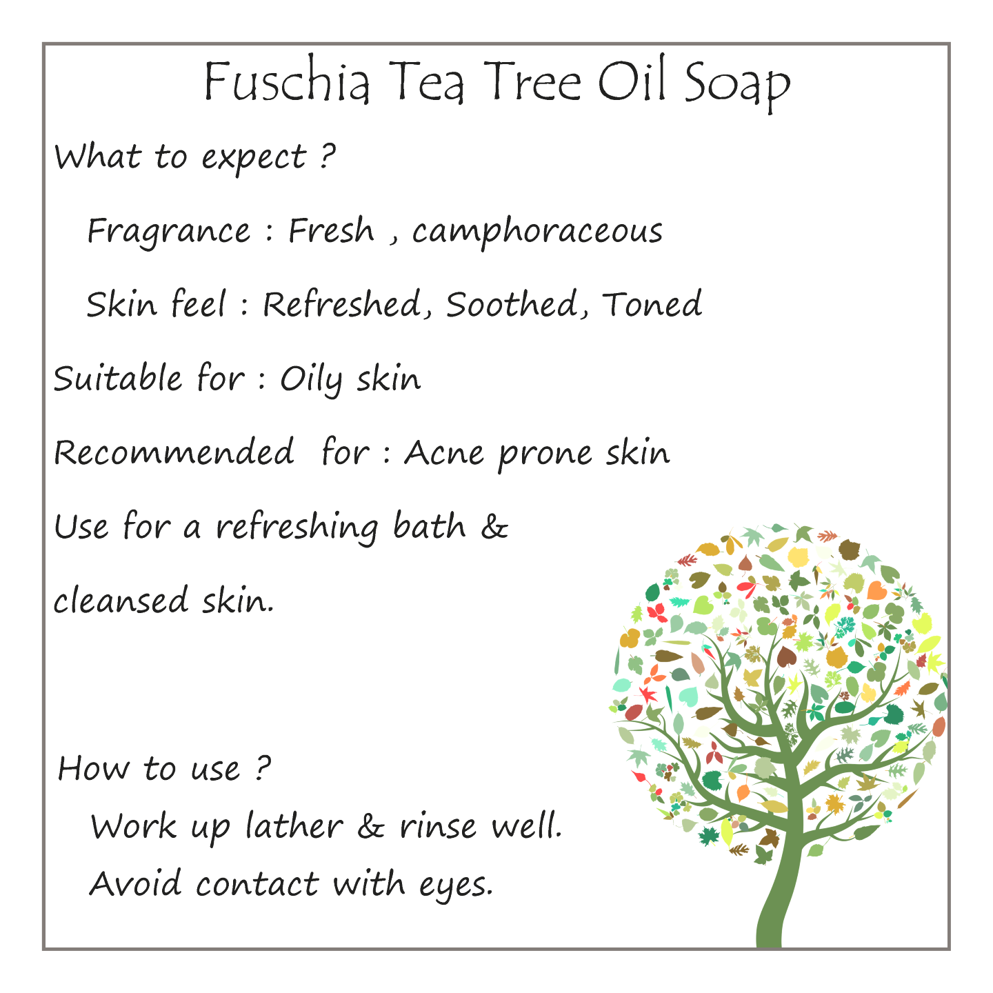 Fuschia - Tea Tree Oil  Natural Handmade Herbal Soap