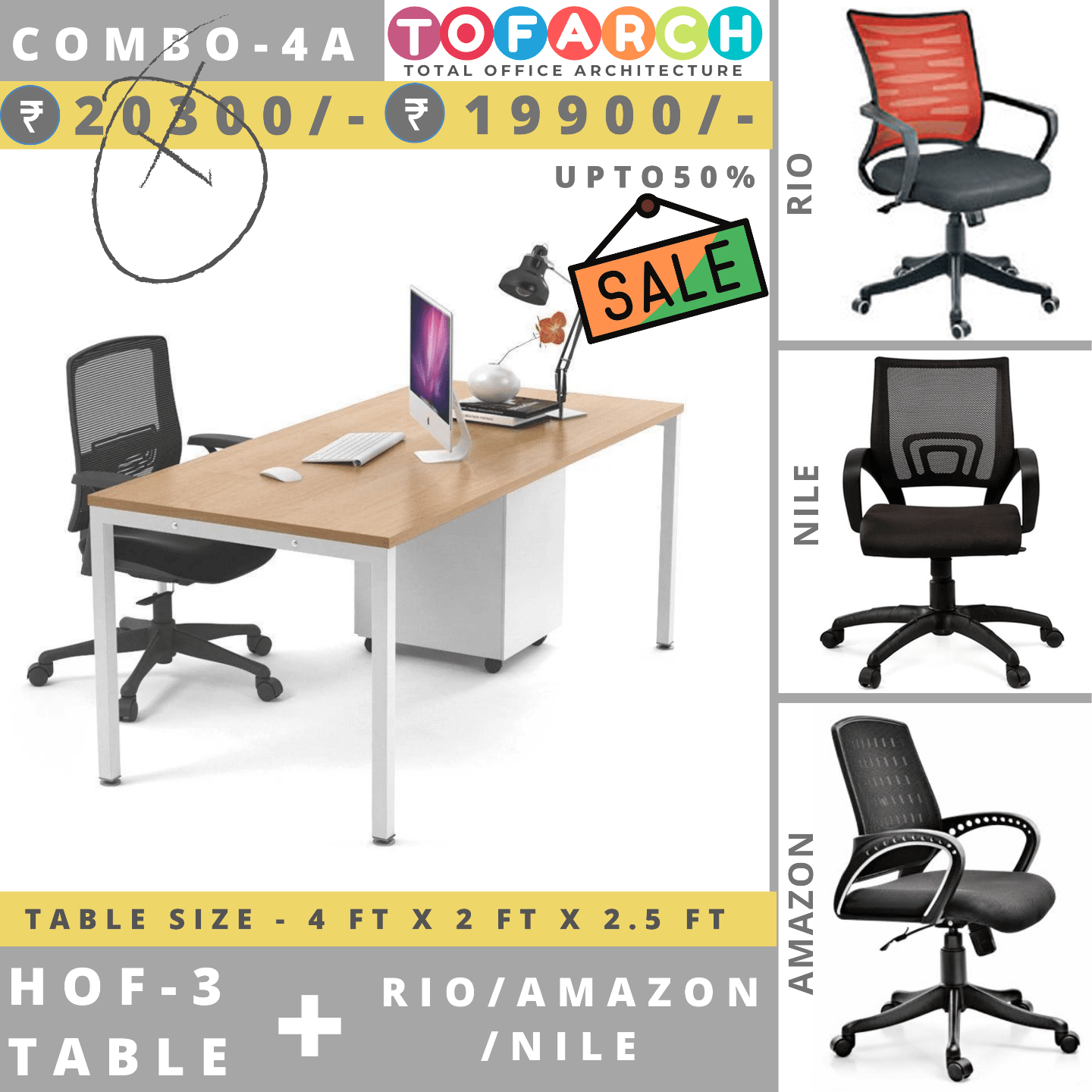 Table Chair Combo - 4A (HOF 3 Table + RIO / AMAZON / NILE Chair)