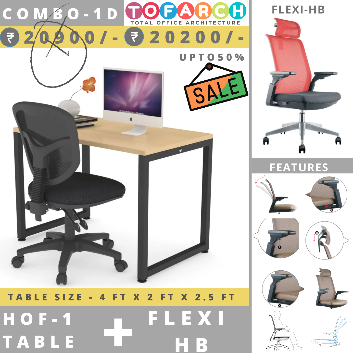 Table Chair Combo - 1D HOF 1 + Flexi-HB