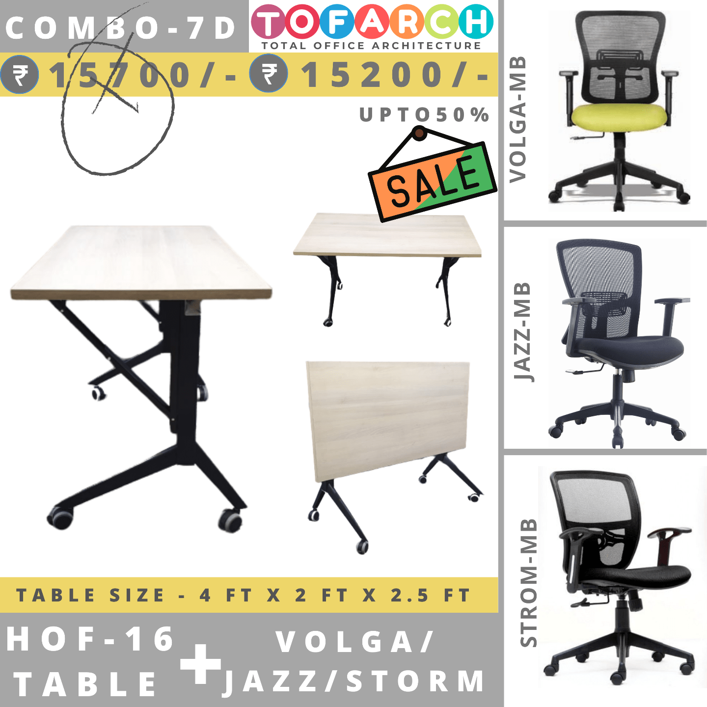 Table Chair Combo - 7D (HOF 16 Table + VOLGA / JAZZ / STROM Chair)