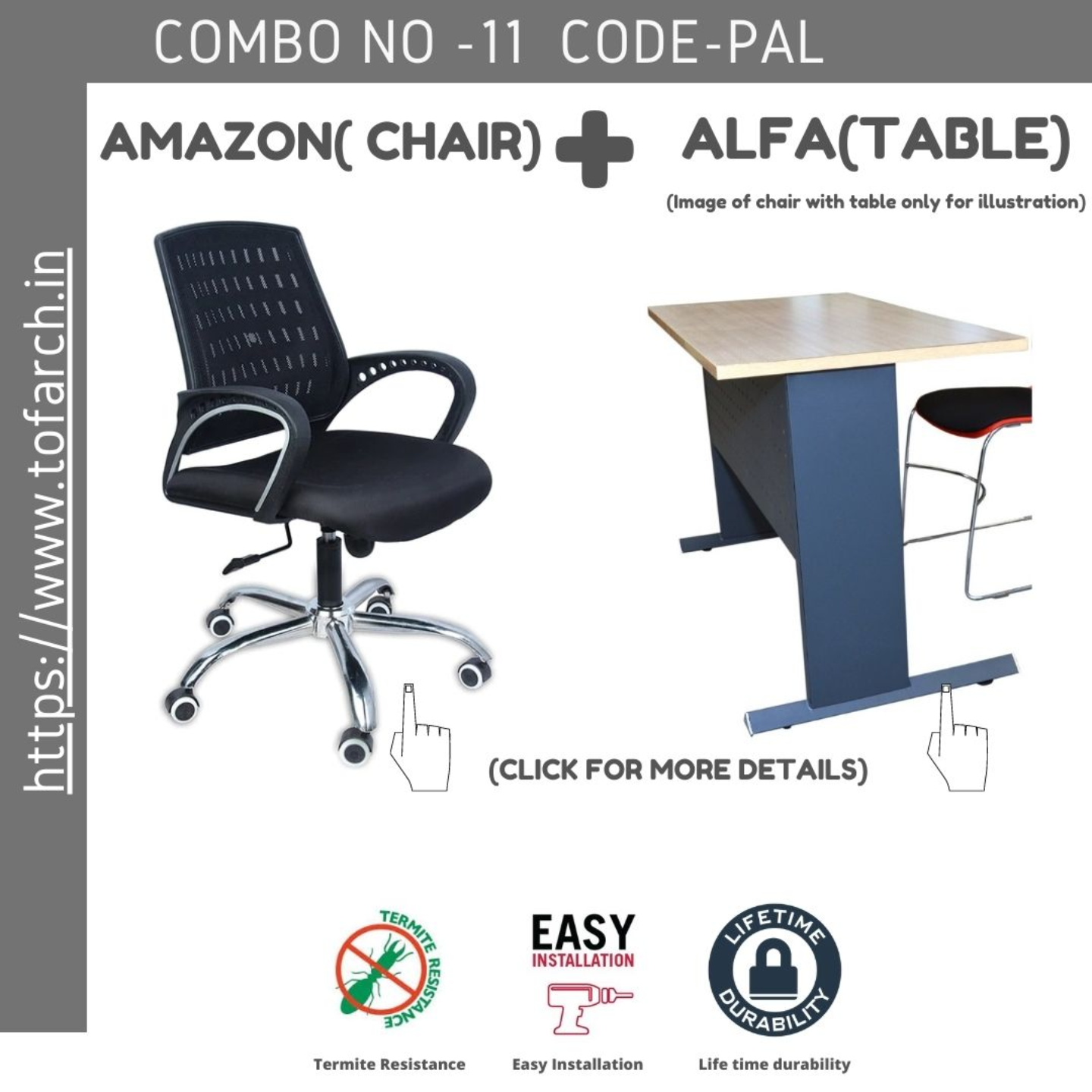 Work from Home Combo  PAL ALFA ABLE  + AMAZON CHAIR