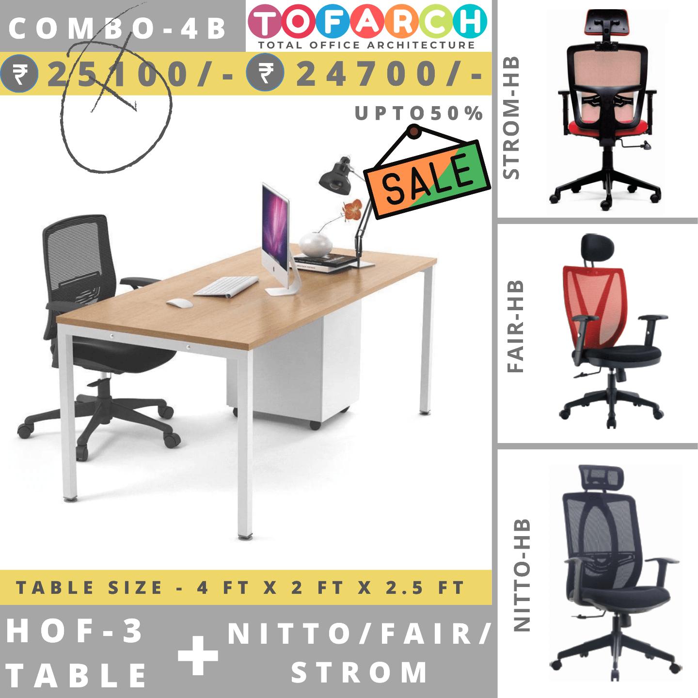 Table Chair Combo - 4B (HOF 3 Table + NITTO / FAIR / STROM Chair)