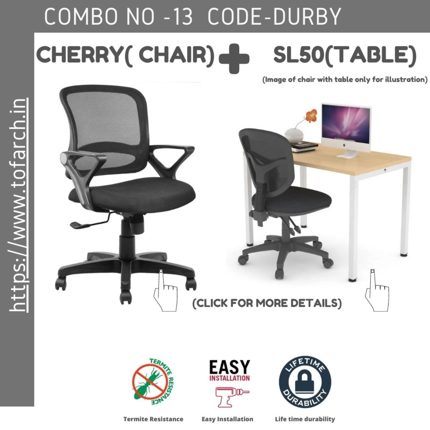 Work from Home Combo DURBY SL50 TABLE  + CHERRY CHAIR