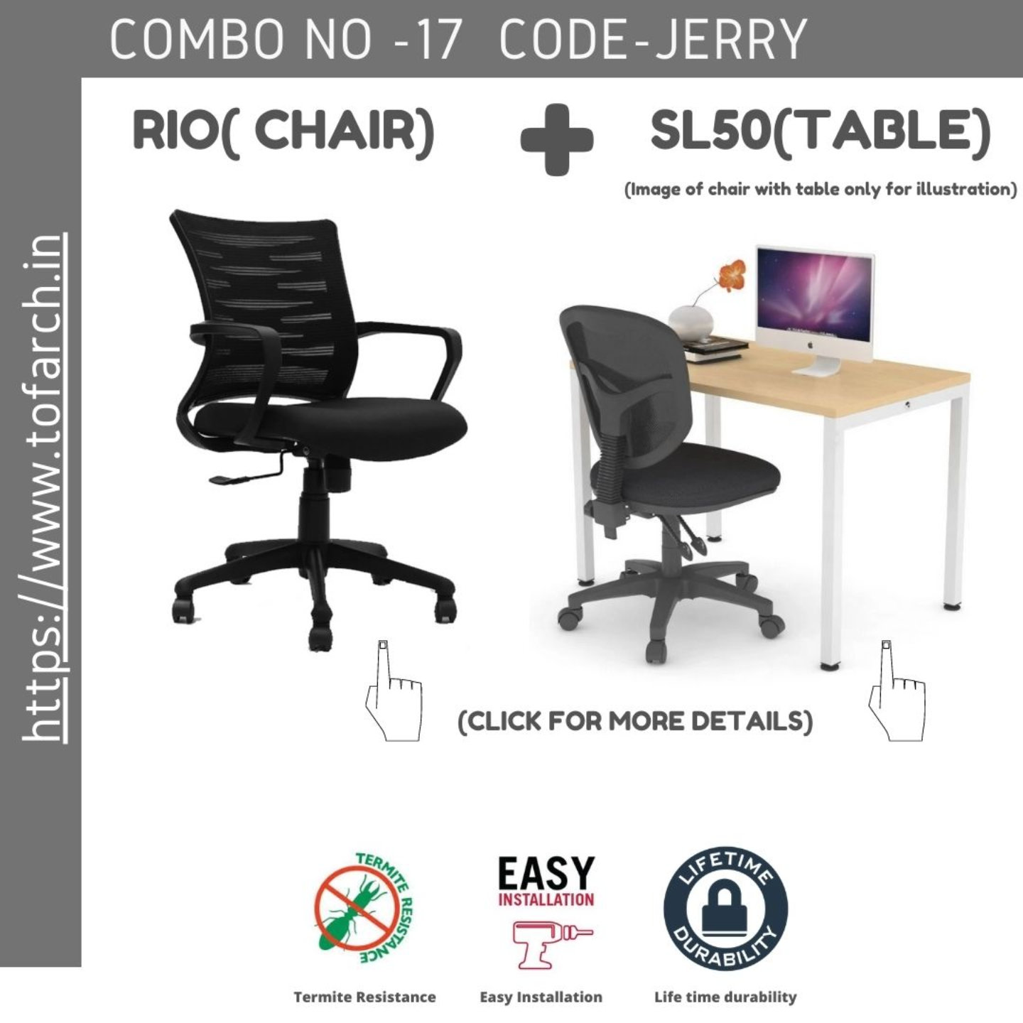 Work from Home Combo JERRY SL 50 TABLE  + RIO CHAIR