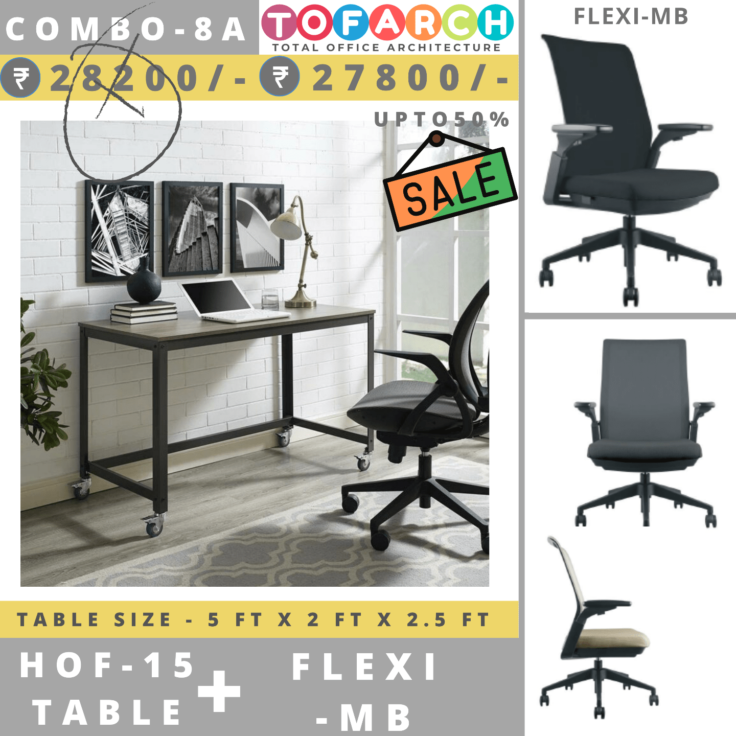 Table Chair Combo - 8A (HOF 15 Table + FLEXI MB Chair)