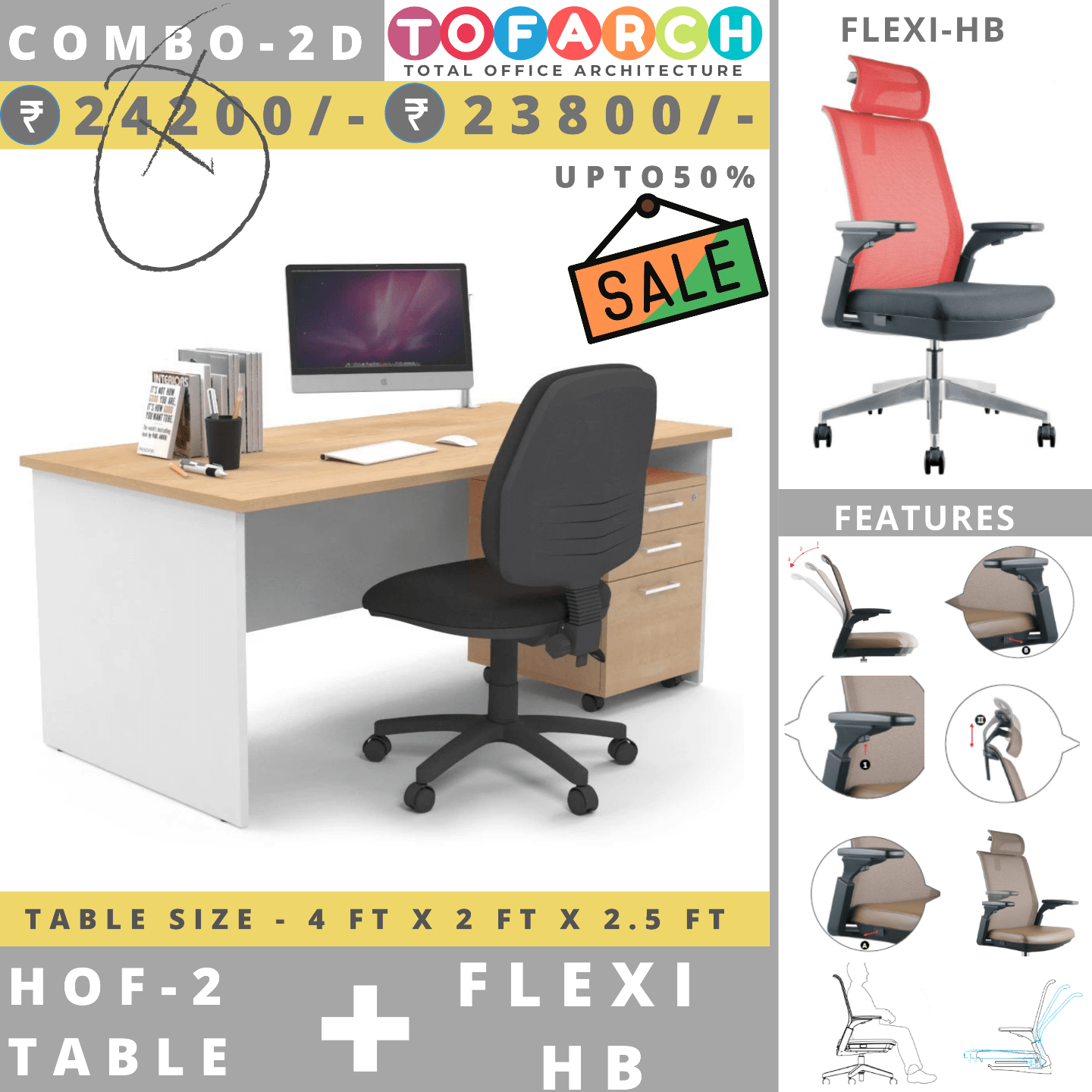 Table Chair Combo - 2D (HOF 2 Table + Flexi Chair)