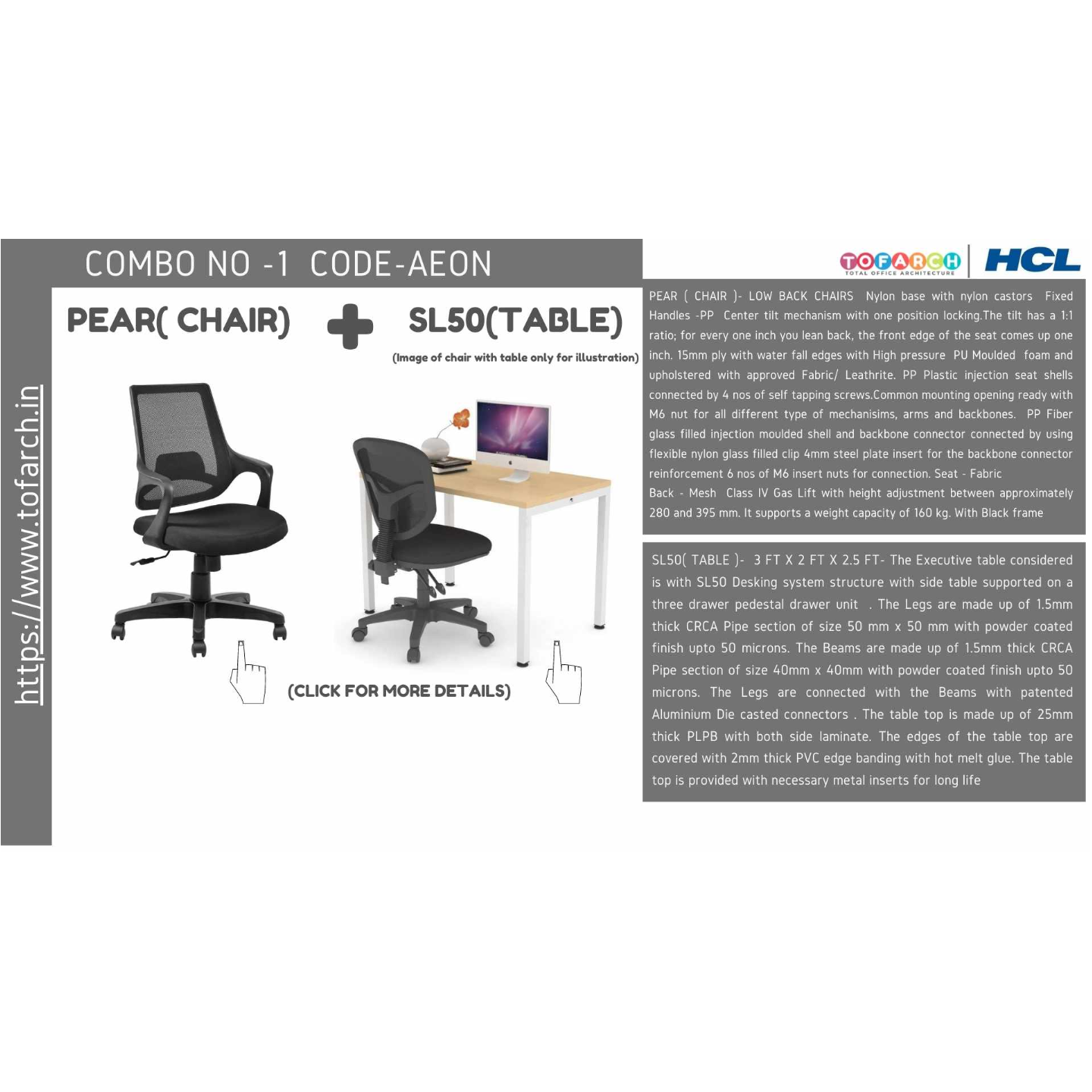 Work from Home Combo AEON SL 50 TABLE  + PEAR CHAIR