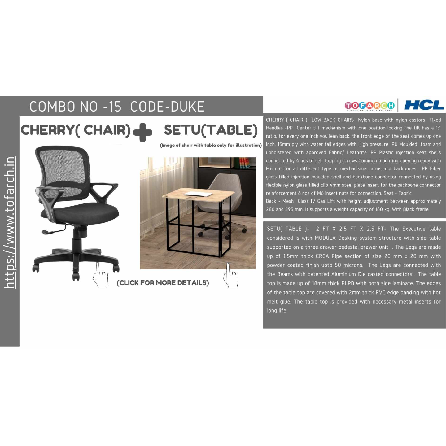 Work from Home Combo DURBY SETU TABLE  + CHERRY CHAIR