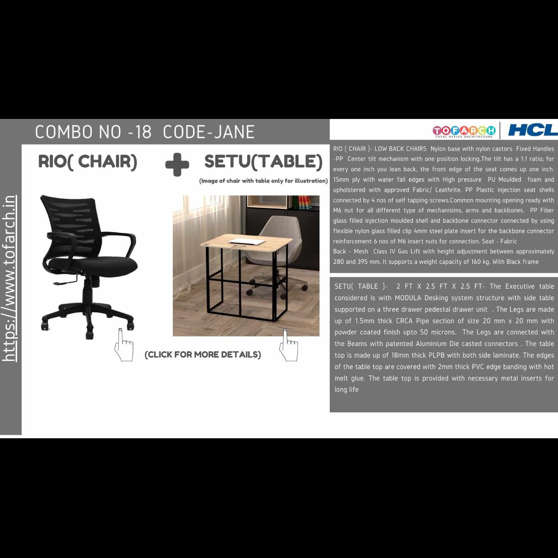 Work from Home Combo JANE SETU TABLE  + RIO CHAIR