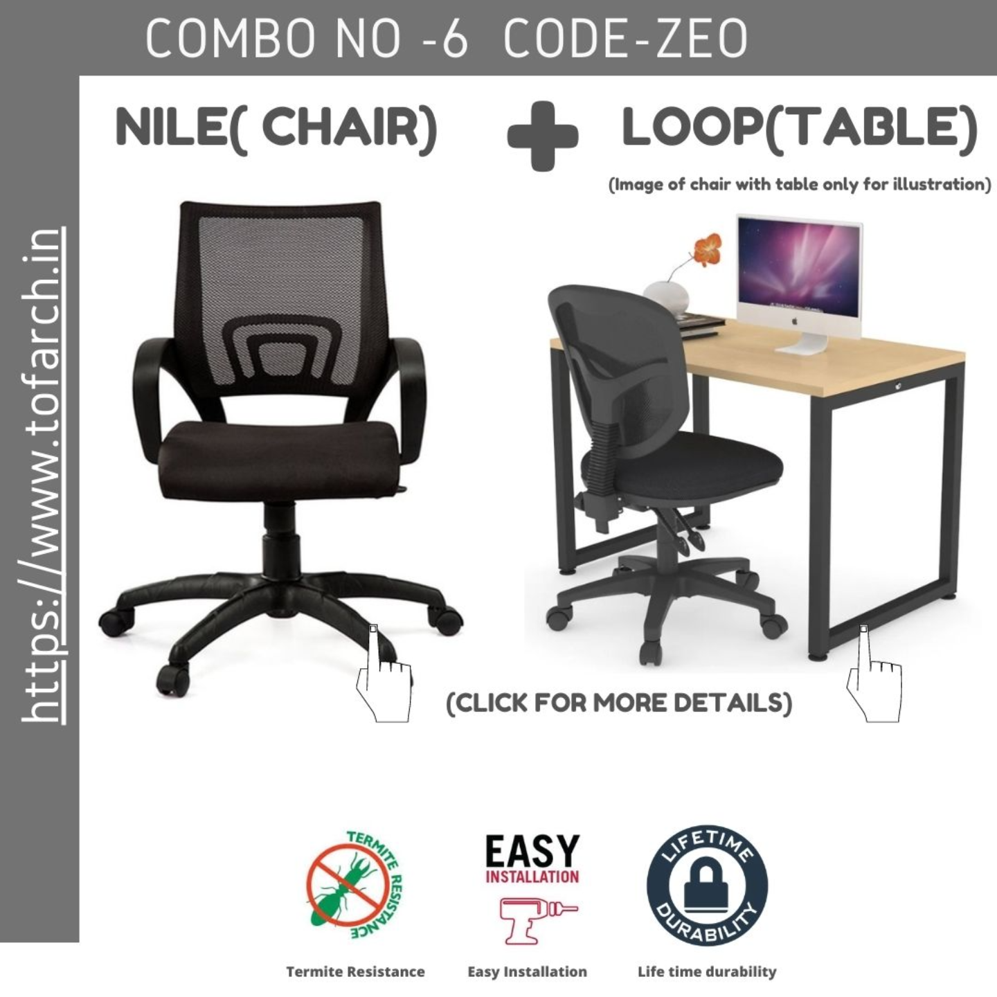 Work from Home Combo ZEO LOOP TABLE  + NILE CHAIR