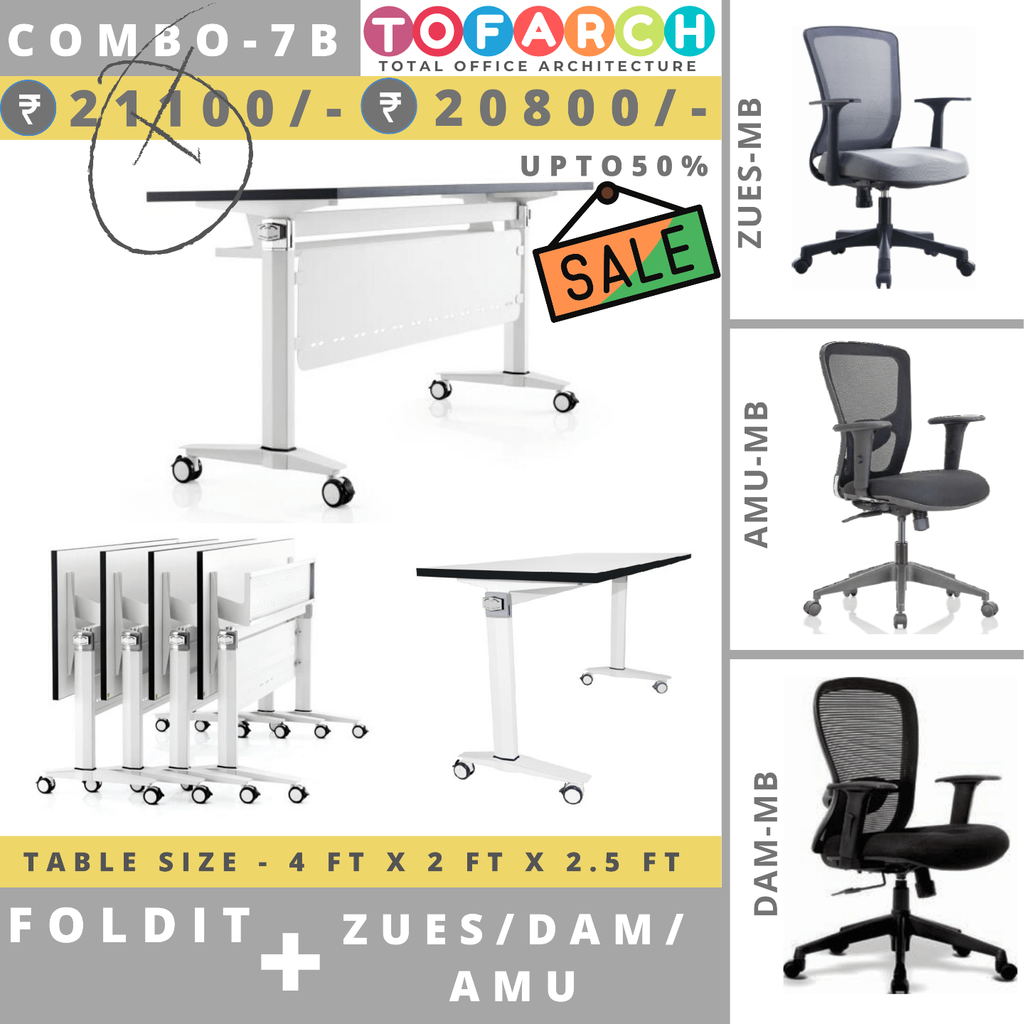 Table Chair Combo - 7B (FOLDIT Table + AMU / DAM / ZUES Chair)