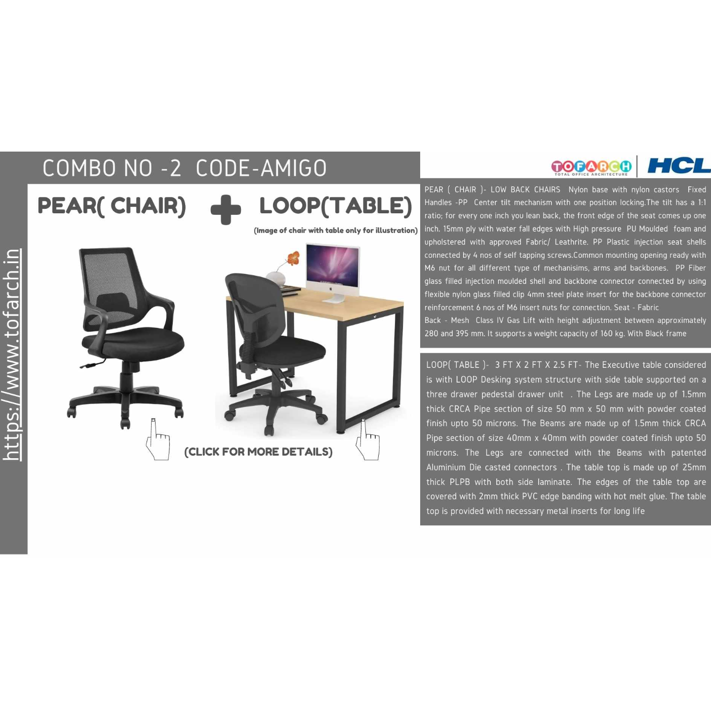 Work from Home Combo AMIGO (LOOP TABLE ) + PEAR CHAIR