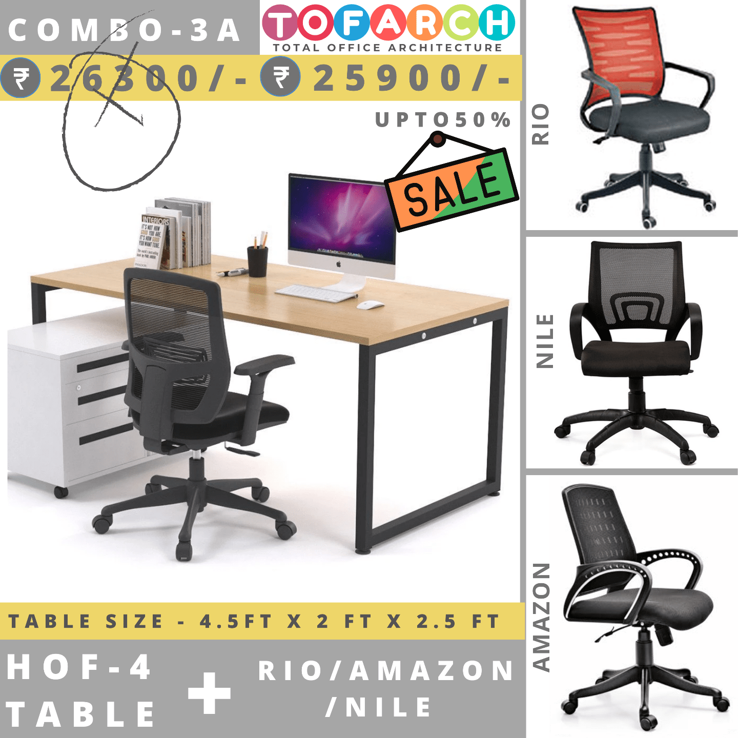Table Chair Combo - 3A (HOF 4 Table + RIO / AMAZON / NILE Chair)