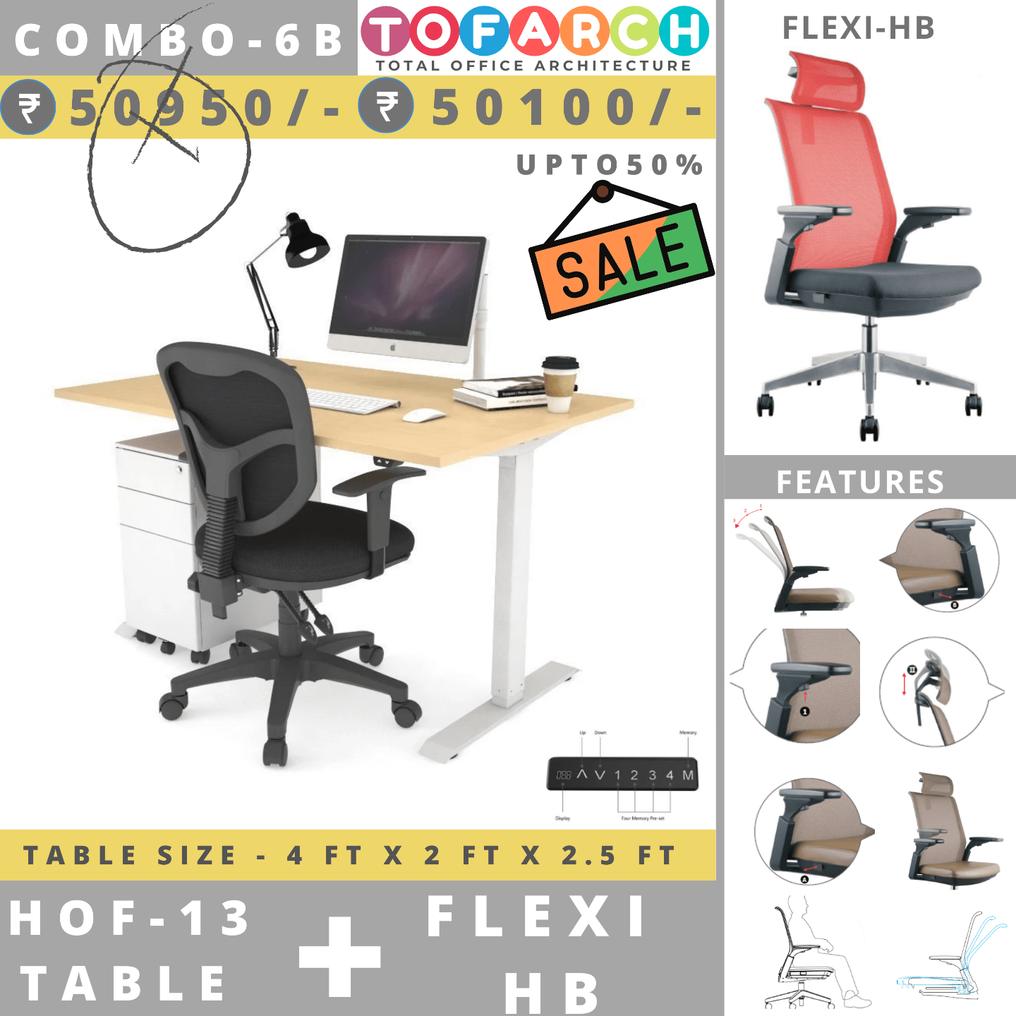Table Chair Combo - 6B (HOF 13 Table + FLEXI HB Chair)