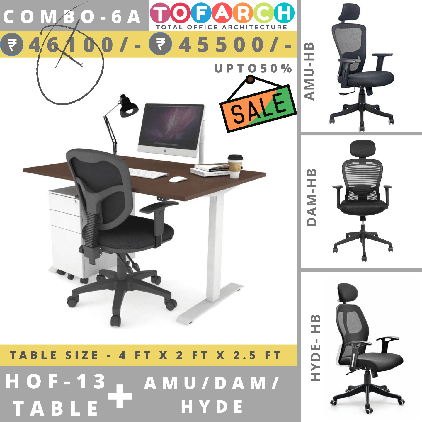 Table Chair Combo - 6A (HOF 13 Table + AMU / DAM / HYDE Chair)