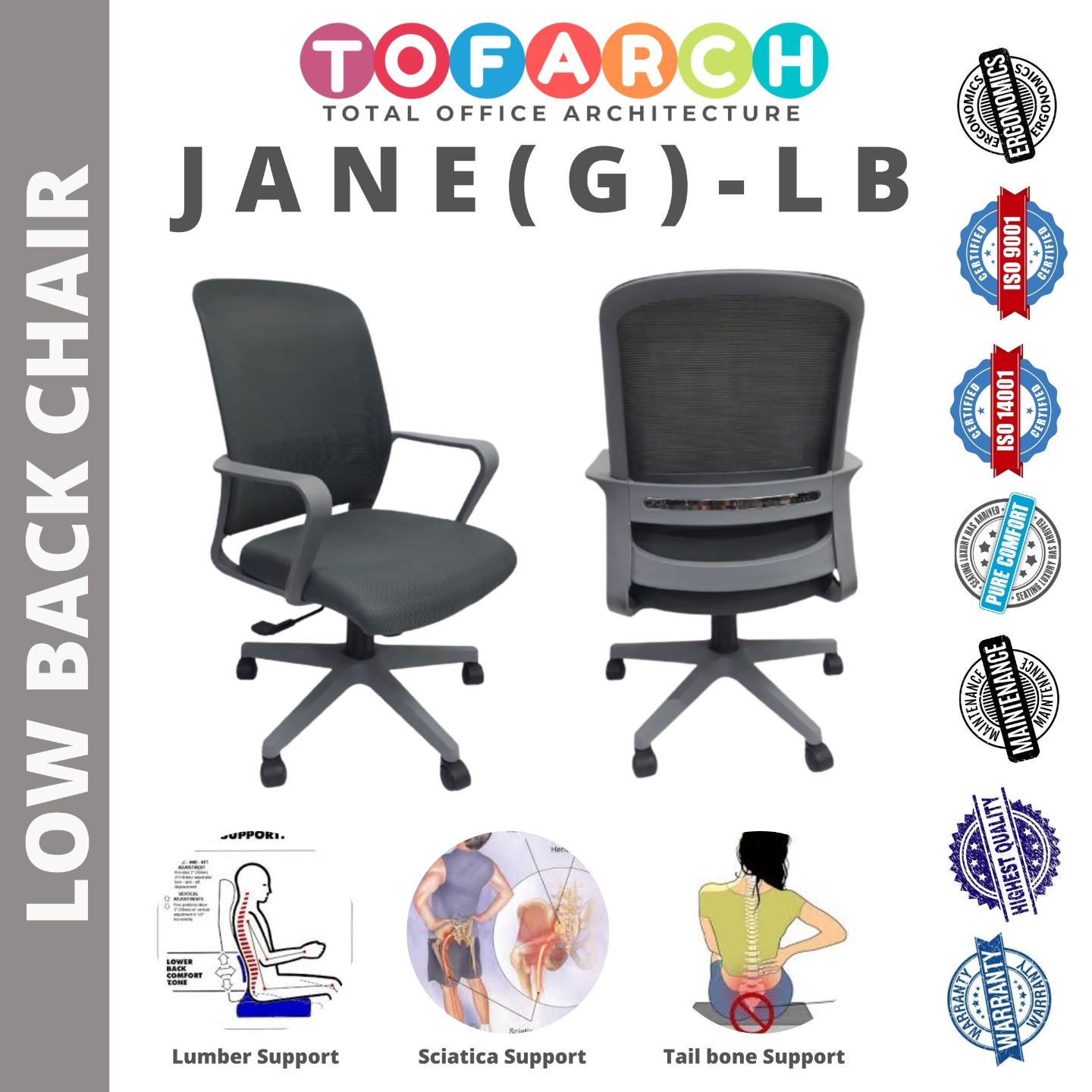 Low Back Office Chair Jane (G) LB