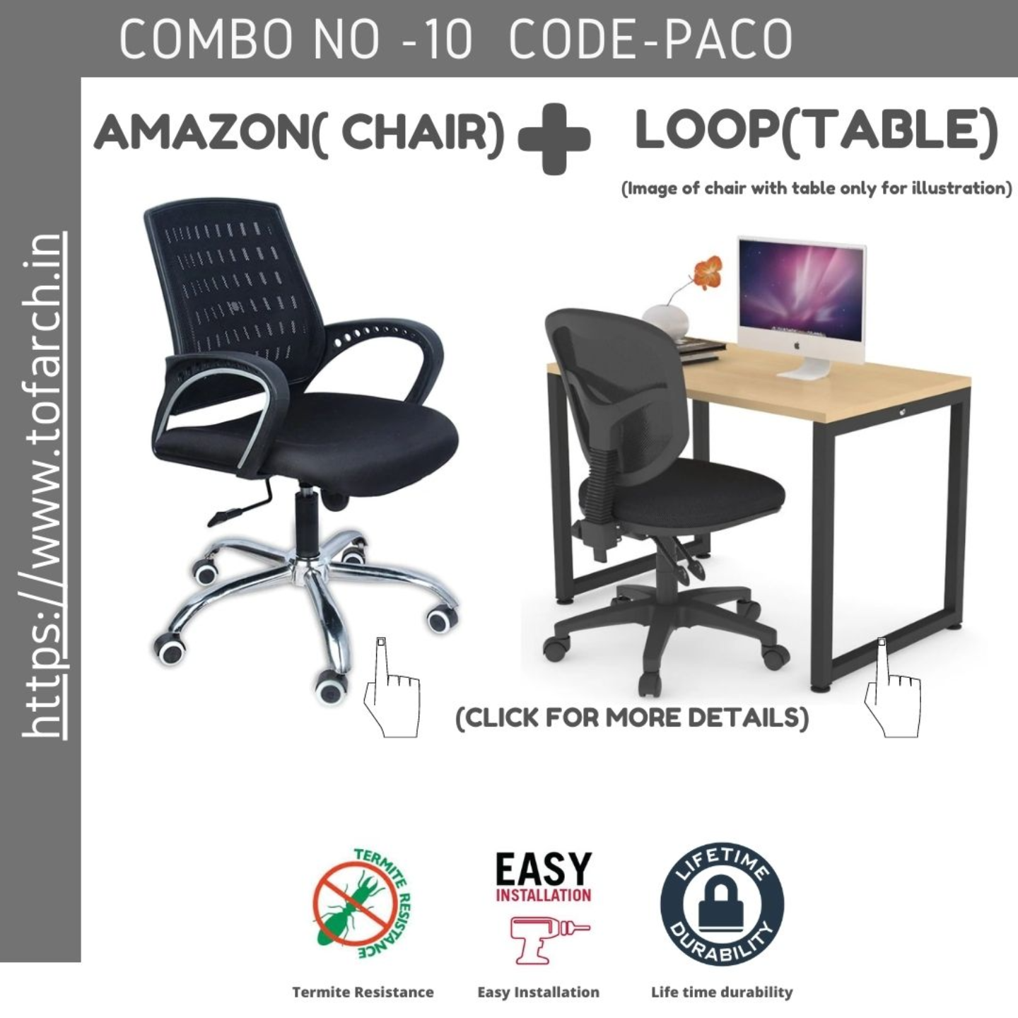 Work from Home Combo PACO (LOOP TABLE ) + AMAZON CHAIR