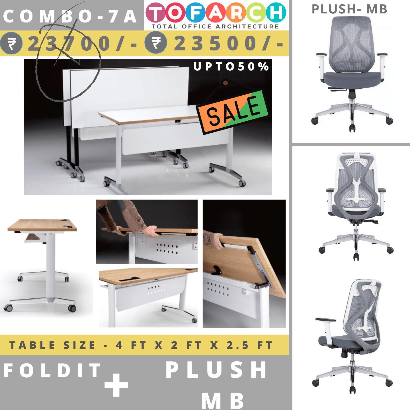 Table Chair Combo - 7A (FOLDIT Table + PLUSH MB Chair)