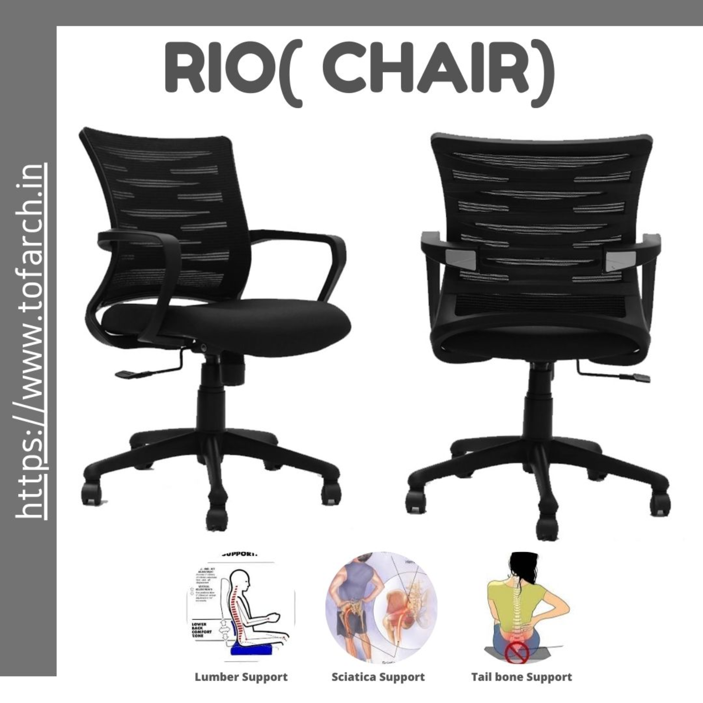 Home Office Chair with Low Back Support RIO LB