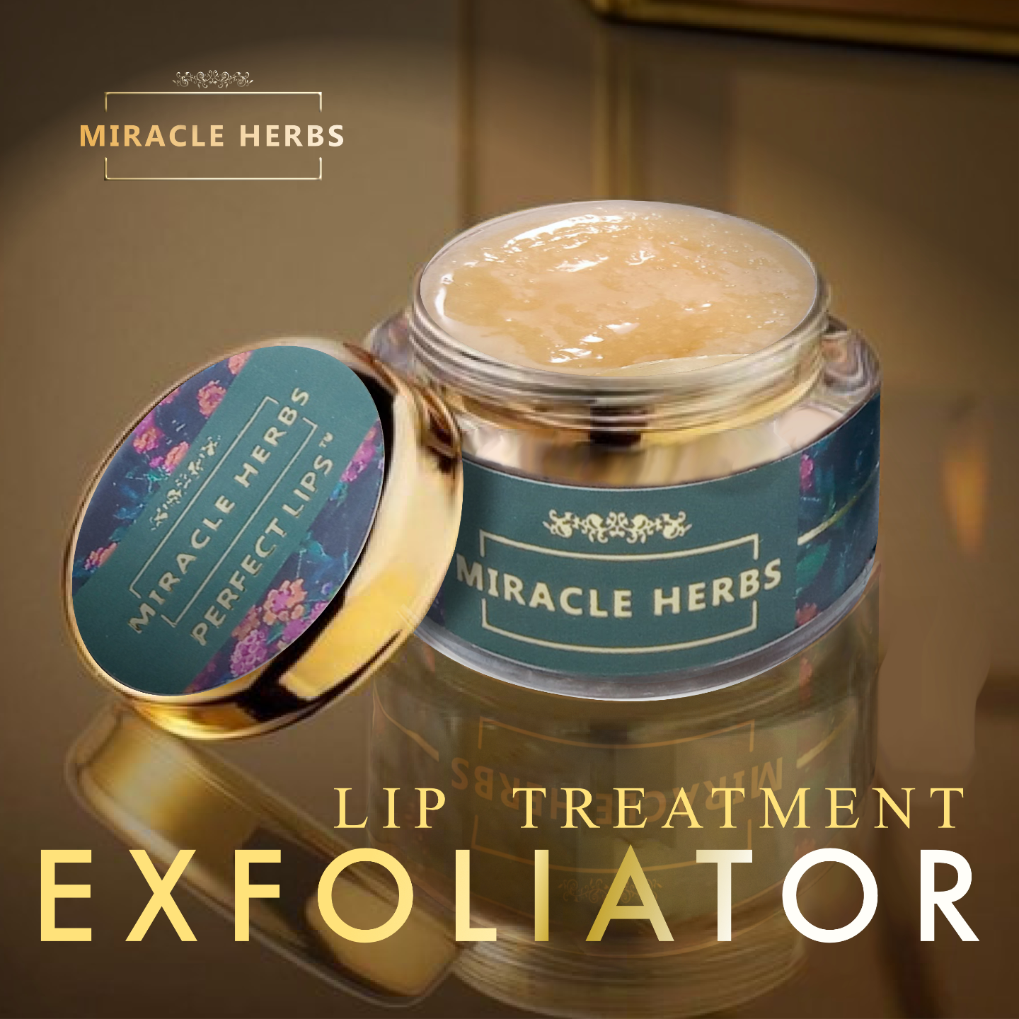 Miracle Herbs PERFECT LIPS lip treatment balm & lip exfoliator 100 Organic Lip Care Exfoliating Scrub and Lip Balm Lip Moisturizer for Chapped Lips Treatment, Lip Repair for Lush Soft Lips,15gm