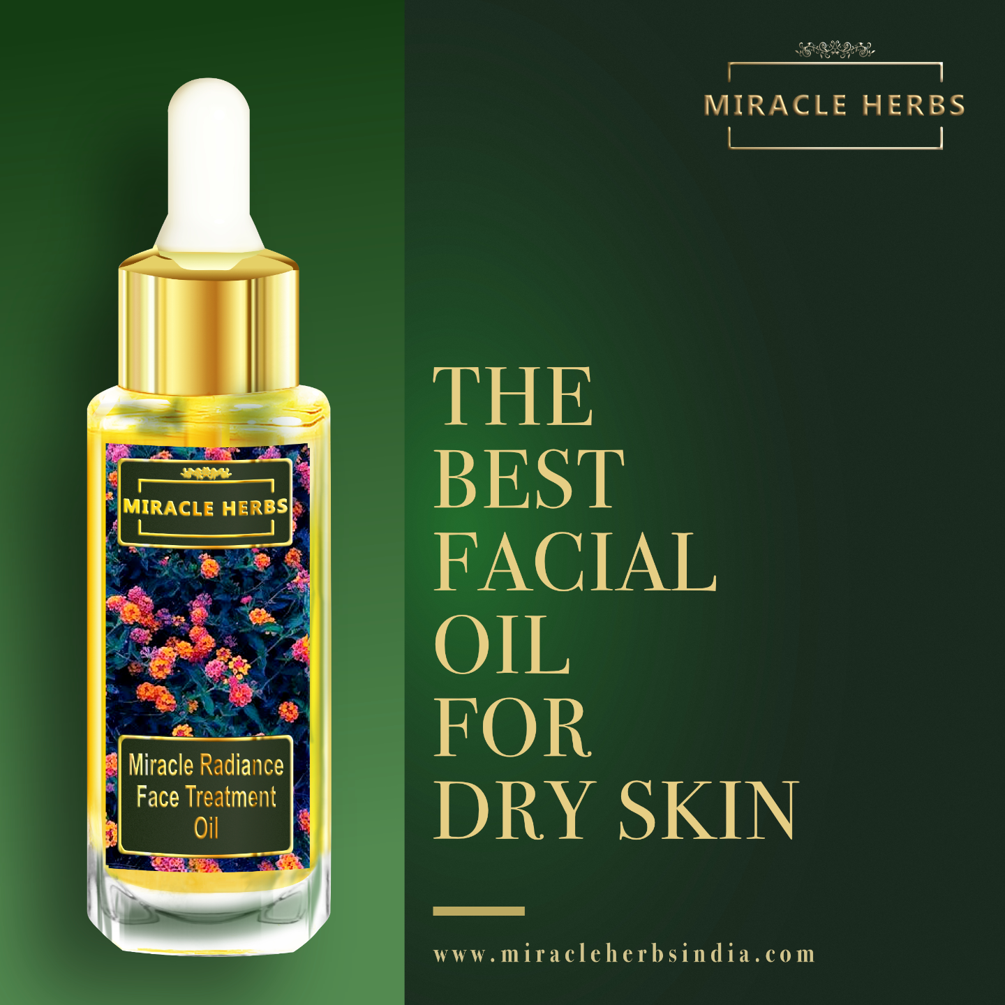 Miracle Herbs Radiance Face Treatment Oil Multivitamin Complex 100% Pure Plant Extracts For All Skin Type,30 ml, Skin Brightening.