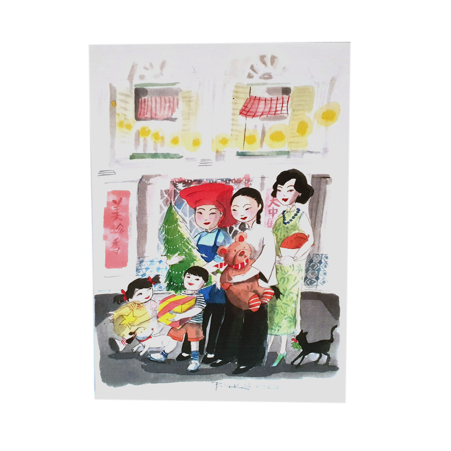 Heritage Postcard Christmas in Chinatown by Patrick Yee