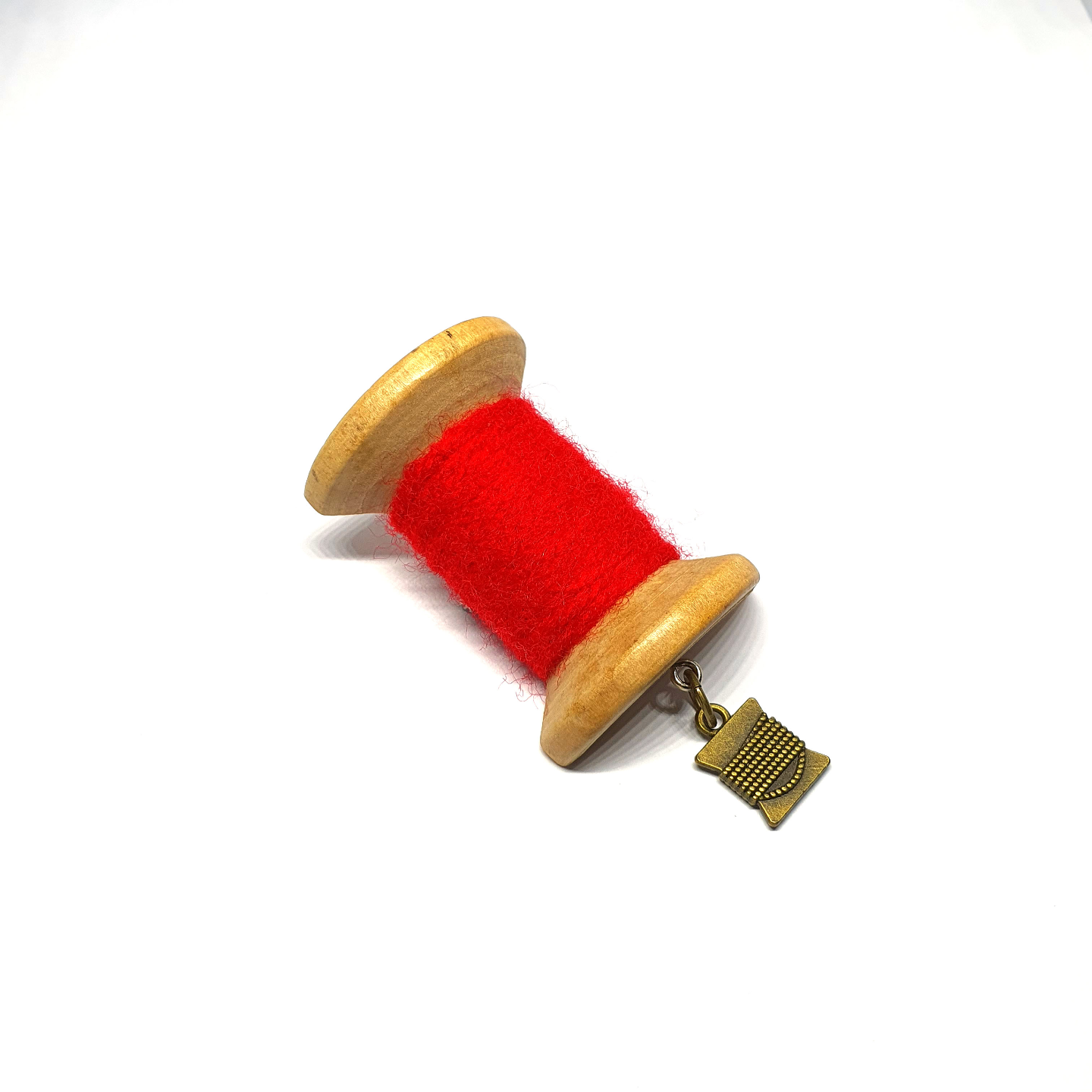 Handmade Brooch: Large Thread Spool (Plain Red 1) by Doe & Audrey