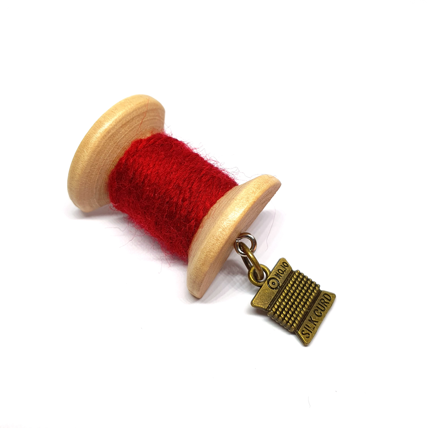 Handmade Brooch: Small Thread Spool (Plain Red 2) by Doe & Audrey