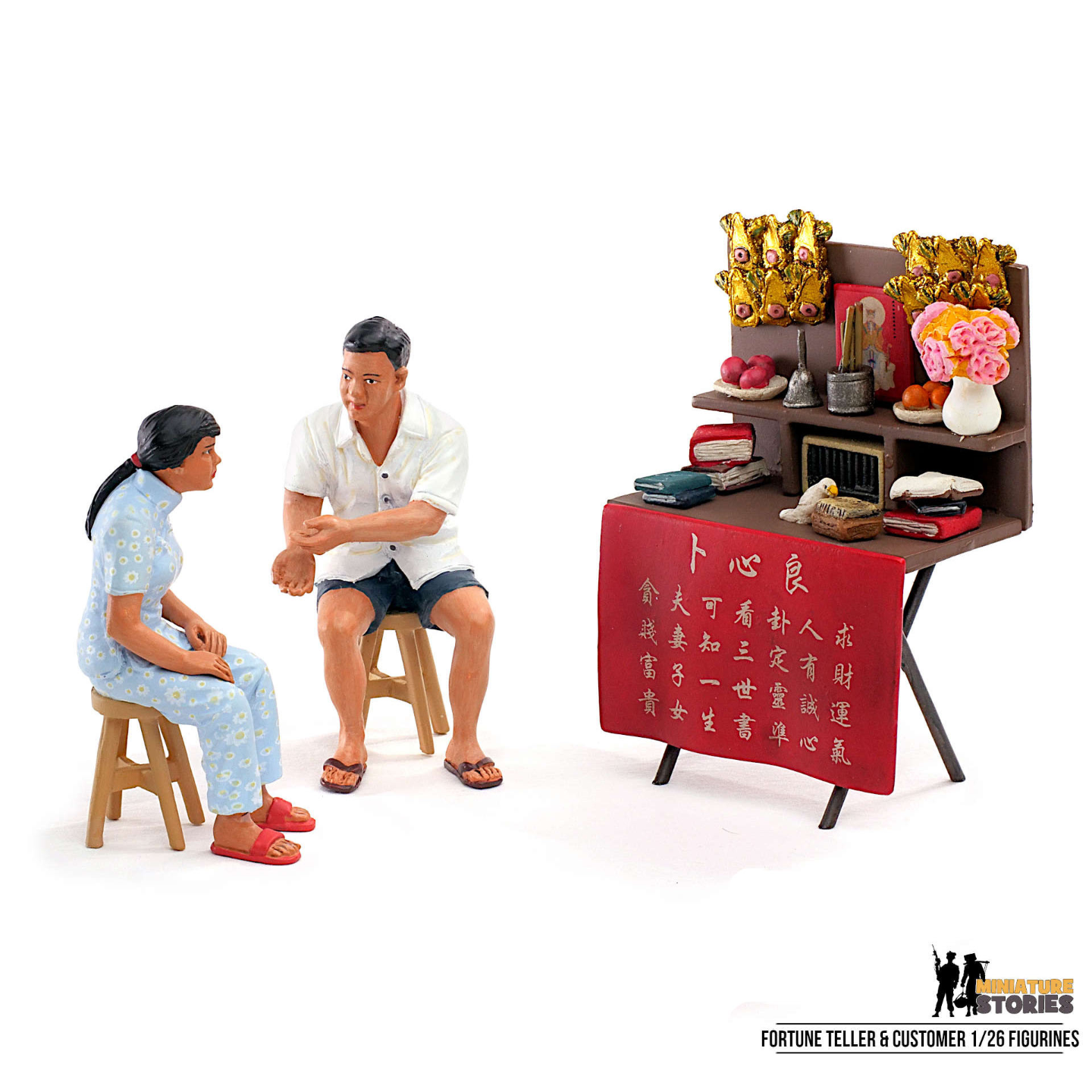 Chinese Fortune Teller and Customer Figurines