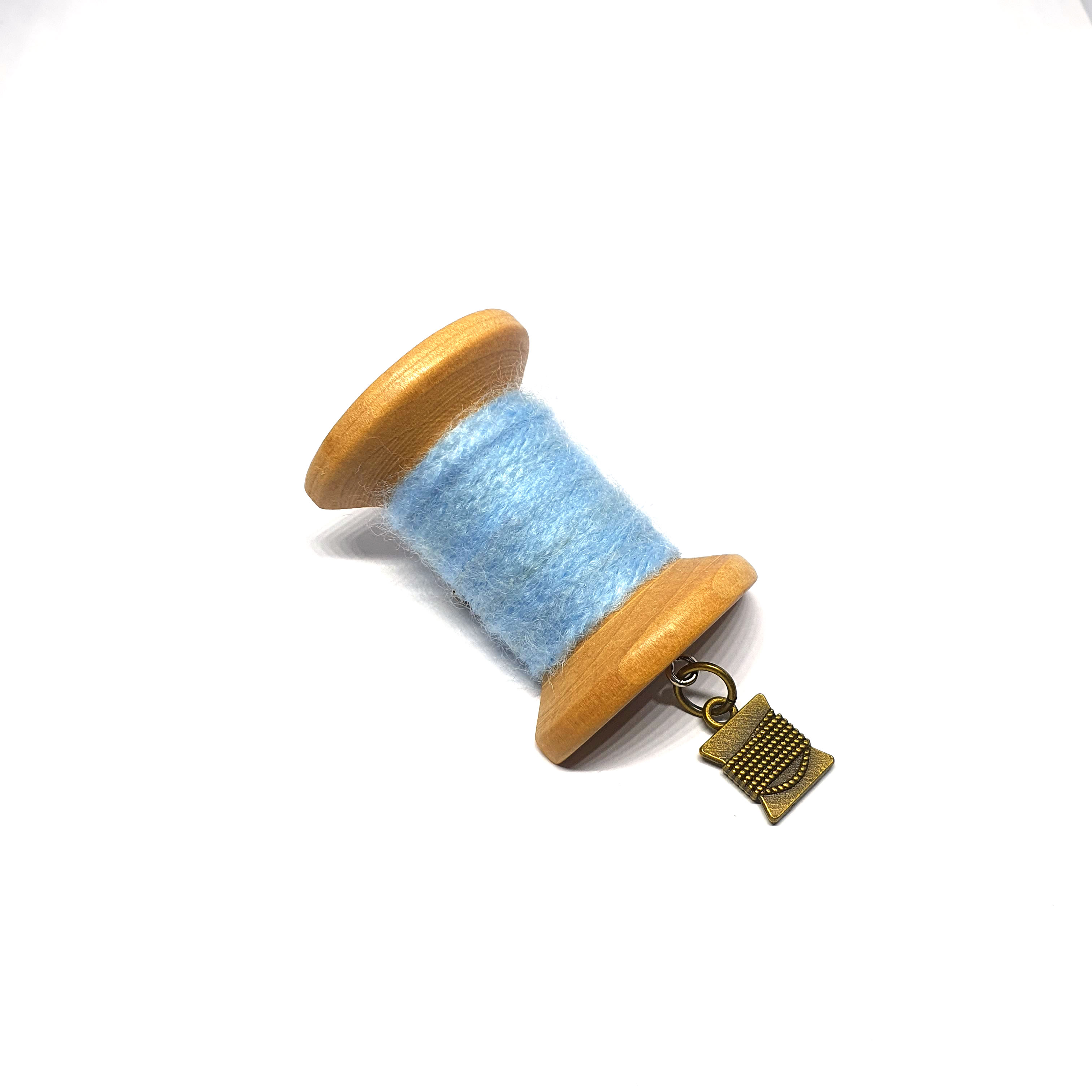 Handmade Brooch: Large Thread Spool (Plain Light Blue 2) by Doe & Audrey