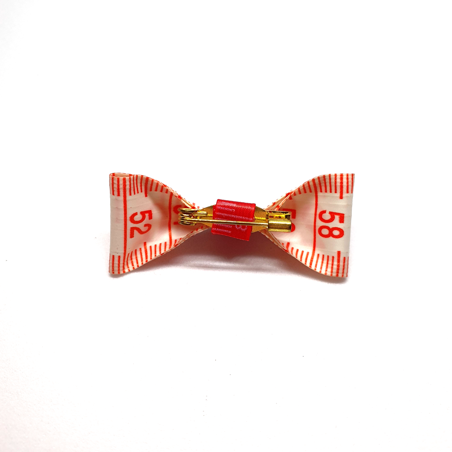 Handmade Accessories Measuring Tape Ribbon Brooches Red 1 by Doe & Audrey