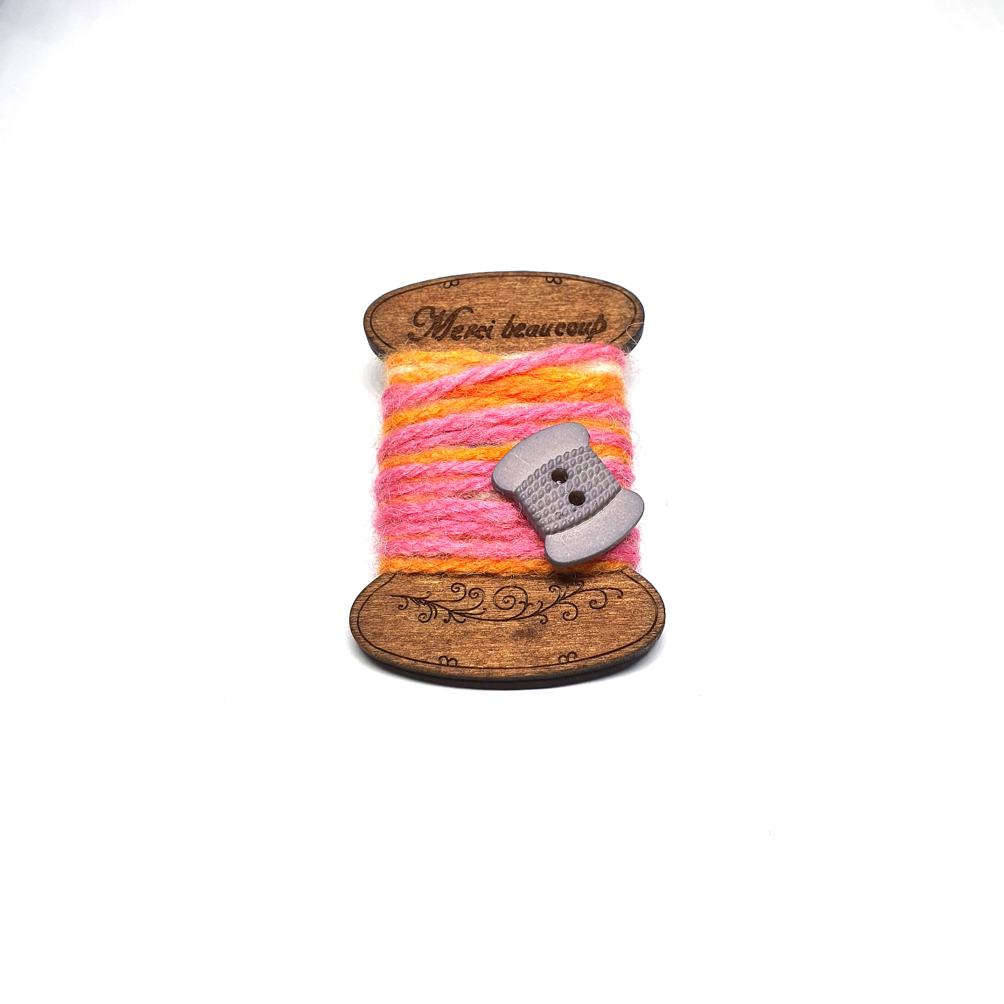 Handmade Brooch: Flat Thread Spool (Striped Pink) by Doe & Audrey
