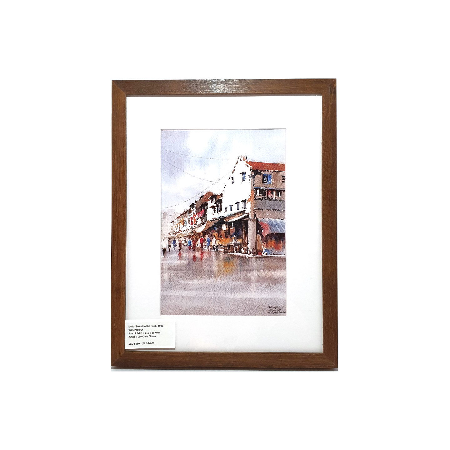 Heritage Water Colour Painting  Smith Street in the Rain by Loy Chye Chuan