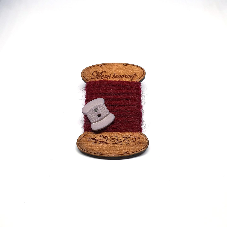 Handmade Brooch: Flat Thread Spool (Plain Brown) by Doe & Audrey